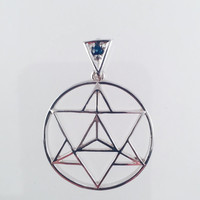 Sacred Geometry, Sterling Silver Merkaba Pendant with Custom Blue Sapphire Bail
