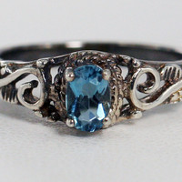 Oxidized London Blue Topaz Filigree Ring Sterling Silver, December Birthstone Ring, Sterling Filigree Ring, Oxidized  Oval Blue Topaz Ring
