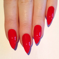 Red Stiletto nails, Nail designs, Nail art, Nails, Stiletto nails, Acrylic nails, Pointy nails, Fake nails