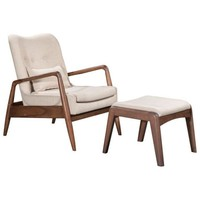 ZUO Modern Bully Lounge Chair & Ottoman Beige 100536 Living Chairs