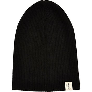 River Island MensBlack slouch beanie hat