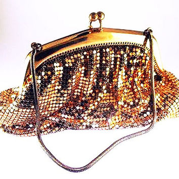 "Gold Mesh Evening Bag Whiting & Davis Shiny Snake Rope Chain 7"" Vintage"
