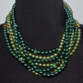 Two toned green multi strands glass pearls with crystals women's necklace