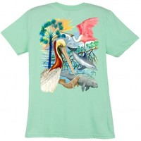 Guy Harvey Gulf Mammals Ladies Back-Print Tee with Front Signature in Caribbean Blue, White, Yellow or Mint