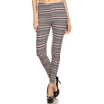 Women's Regular Small Aztec Shape Pattern Print Leggings - Black Grey Pink