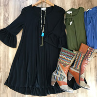 """Rosemary"" Bell Sleeve Dress/Tunic, 3 colors"