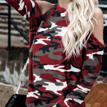 2018 Burgundy Camo Print Cut Out Sleeve Casual T-Shirt