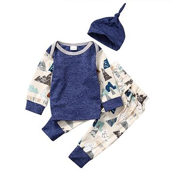 Cute Toddler Kids Baby Boys Tops +Drawstring Pants +hat 3Pcs Outfits Set