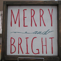 "Wood Sign ""Merry and Bright"""
