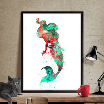 Ariel Watercolor Print, Disney Art, Mermaid Print Watercolor Art, Nursery Room Poster, Ariel Print Watercolor Painting, Disney Print (80)