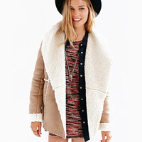 Long Sleeve Suede Shearling Coat win Apricot