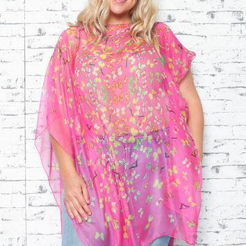 Multiwear Silk in Butterfly Pink Print (Plus Size)