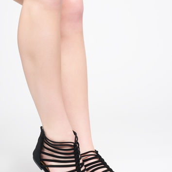 FAUX SUEDE GLADIATOR CAGED SANDAL