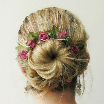 Briar Rose - Romantic Bun Belt, flower crown for your hair bun