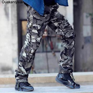 Ouekanlysian Real Photo Outwear Mens Camouflage Pants Fashion Multi Pockets Military Army Pants Joggers Camo Baggy Cargo Pants