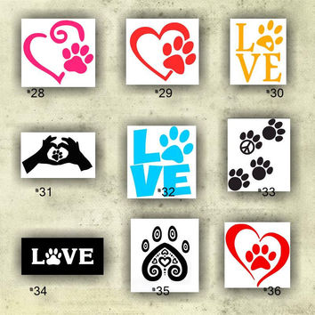 PAW PRINTS vinyl decals - 28-36 - custom car window stickers - personalized vinyl stickers - paw print car sticker - custom vinyl decal