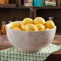 "The Pioneer Woman Farmhouse Lace 10"" Linen Serving Bowl - Walmart.com"