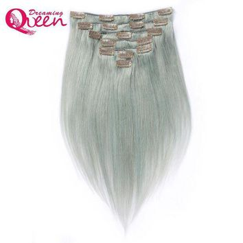 PEAP78W Dreaming Queen Hair Straight Hair Clip In Brazilian Remy Human Hair Extensions Silver Grey Color 7 Pieces/Set 120g Clips