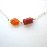 Little Facet Necklace, Red Orange Necklace, Carnelian Necklace, Genuine Gemstone Necklace, Geometric Necklace, Plastic Necklace, Silver OOAK