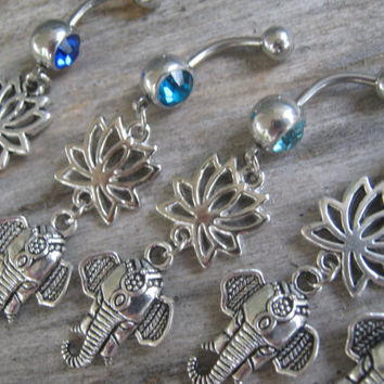 PICK One Lotus Elephant Belly Ring, Belly Button Jewelry, Lotus Flower, Buddhist Om Navel Piercing, Yoga Inspired, Buddhist Body Jewelry