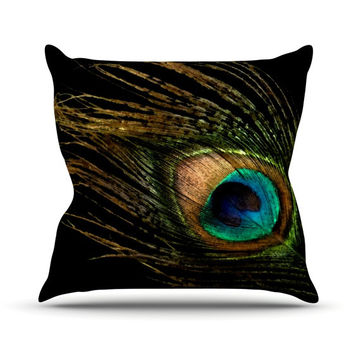 "Alison Coxon ""Peacock Black"" Throw Pillow"
