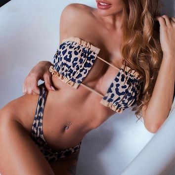 Beach Bikini Leopard Swimwear Women Brazilian Thong Push Up Bikini Set Bathing Suit Ruffle Female Biquini