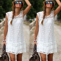 Fashion New Sexy Women's Summer Casual Sleeveless Evening Party Beach Dress Short Mini Lace Dress White S M L XL = 5657675201