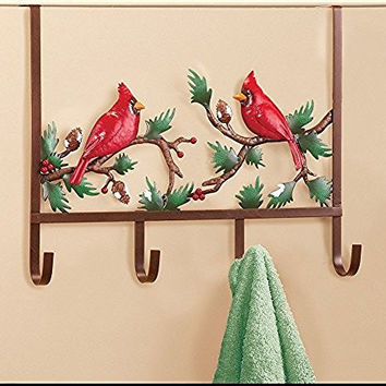 Bright Red Cardinals Snow Covered Pine Branch Pinecones Berries Over the Door Hooks Rack
