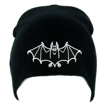 ac spbest White Vampire Bat Beanie Occult Halloween Clothing Knit Cap