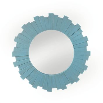 Wooden Blue Sunburst Wall Mirror