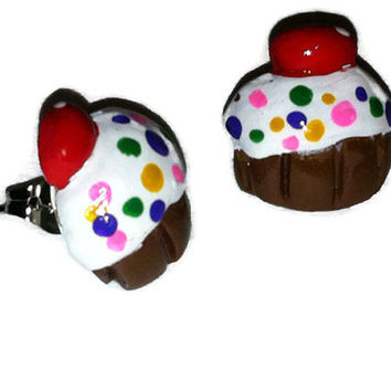 Cupcake Post Earrings, Sprinkles, Birthday Cake, Polymer Clay, Rainbow Cupcake Studs, Kawaii Fashion, gag gifts, food jewelry, gift ideas,