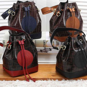 """FENDI"" Unisex Sport Casual Simple Bucket Bag Single Shoulder Messenger Bag Couple Zip Small Bag"