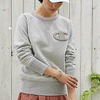 Champion Embroidery Round Collar Long Sleeve Sweater Top Grey