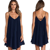 Womens Sexy Cross-strap Blue Dress