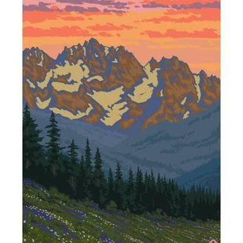 Spring Flowers, Olympic National Park Art Print by Lantern Press at Art.com