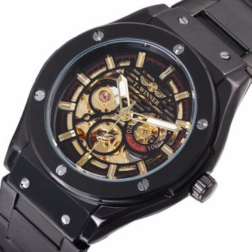 WINNER Rough Hippie Men Cool Black Automatic Mechanical Watch 3D Bolt Skeleton Dial Stainless Steel Strap  New Year Gift