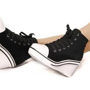 Fahion Moda 2013 NEW Women High Top Wedge Heel Sneakers Lace-up Canvas Shoes