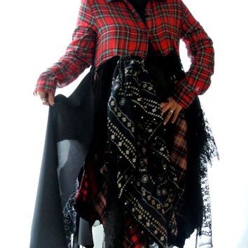 Fall Jacket, Gypsy vagabond coat, Lagenlook dress, Bohemian prairie duster, patchwork, Tartan plaid, lace, romantic, true rebel clothing, OS