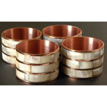 Mother of Pearl Copper Napkin Rings, Set of 4