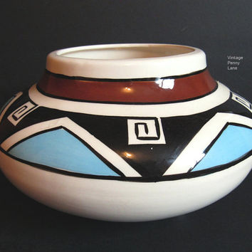 Vintage Native American Pottery Planter, Hand Painted Pottery, Southwest Pottery, Vase / Bowl, Handmade Pottery