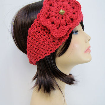FREE SHIPPING - Crochet Ear Warmer Headband with Flower and Button - Bright Coral Pink