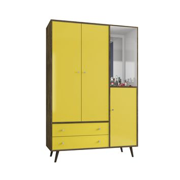 "47.83"" Mid Century- Modern Armoire w/ Mirror, 4 Shelves, 2 Draweres & Hanging Rod-Brown, Yellow"