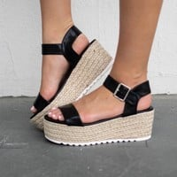 Zuma Beach Black Leather Strap Espadrilles