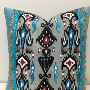 Turquoise Velvet Pillow Cover,Velvet Pillow,Ikat Pillow,Decorative Pillow,Boho Pillows,Throw Pillow,Blue Velvet Couch Cushion Case Covers