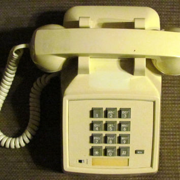 Vintage Cream Colored Push Button Desk Top Telephone
