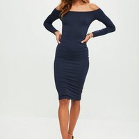 Missguided - Navy Bardot Midi Dress