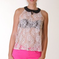 NUDE PETERPAN COLLAR LACE TOP @ KiwiLook fashion