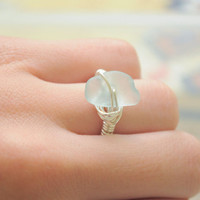 Blue Seaglass Ring with Silver Plated Wire and Authentic Seaglass -Made to Order - Custom Ring