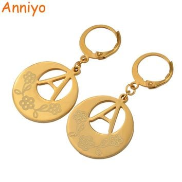 Anniyo (A-Z)Gold Color Initial Letter Earrings Women,English Alphabet Jewelry Gifts (More Letter Please Check My Store) #022921