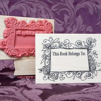 Botanical Bookplate Rubber Stamp from oldislandstamps